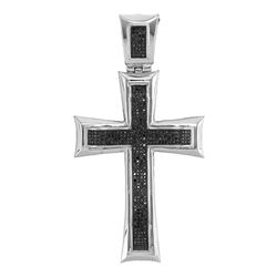 1 CTW Mens Black Color Diamond Pattee Roman Cross Charm Pendant 10KT White Gold - REF-104Y9X