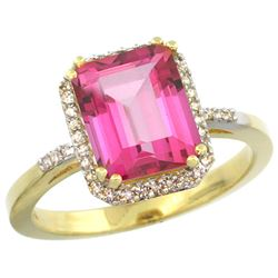 Natural 2.63 ctw Pink-topaz & Diamond Engagement Ring 14K Yellow Gold - REF-42M8H