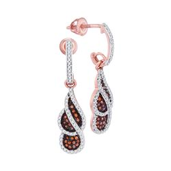 0.38 CTW Red Color Diamond Cluster Dangle Earrings 10KT Rose Gold - REF-37F5N