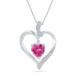 1.8 CTW Created Pink Sapphire Heart Love Pendant 10KT White Gold - REF-11W2K