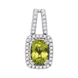 1.18 CTW Cushion Peridot Solitaire Diamond Pendant 14KT White Gold - REF-38M9H