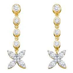 0.75 CTW Diamond Flower Cluster Dangle Earrings 10KT Yellow Gold - REF-38X9Y