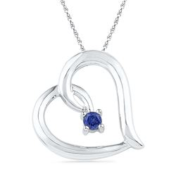 0.12 CTW Created Blue Sapphire Heart Love Pendant 10KT White Gold - REF-12N2F