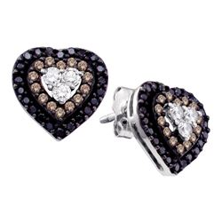 0.50 CTWCognac-brown Black Color Diamond Heart Earrings 14KT White Gold - REF-40Y4X
