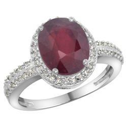 Natural 2.56 ctw Ruby & Diamond Engagement Ring 14K White Gold - REF-46W9K