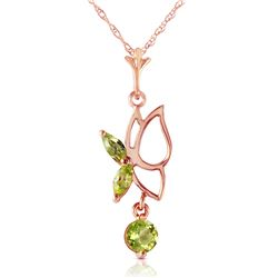 Genuine 0.40 ctw Peridot Necklace Jewelry 14KT Rose Gold - REF-22Y2F