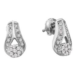 0.25 CTW Diamond Flower Teardrop Earrings 14KT White Gold - REF-37K5W