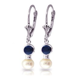 Genuine 5.2 ctw Sapphire & Pearl Earrings Jewelry 14KT White Gold - REF-39W8Y
