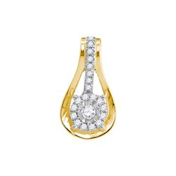 0.13 CTW Diamond Flower Teardrop Pendant 10KT Yellow Gold - REF-12W2K