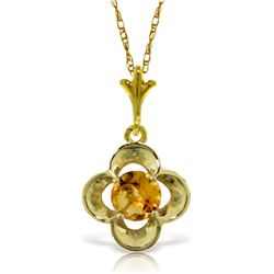 Genuine 0.55 ctw Citrine Necklace Jewelry 14KT Yellow Gold - REF-23K6V