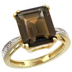 Natural 5.42 ctw Smoky-topaz & Diamond Engagement Ring 14K Yellow Gold - REF-61A9V