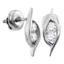 0.25 CTW Diamond 2-stone Hearts Together Stud Earrings 14KT White Gold - REF-26Y3X