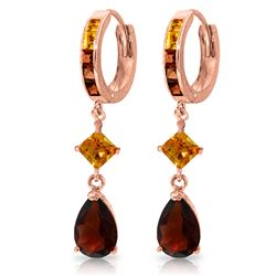 Genuine 5.15 ctw Garnet & Citrine Earrings Jewelry 14KT Rose Gold - REF-61M8T