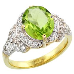 Natural 3.3 ctw peridot & Diamond Engagement Ring 14K Yellow Gold - REF-107K3R