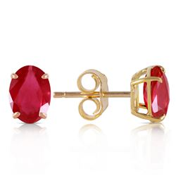 Genuine 1.80 ctw Ruby Earrings Jewelry 14KT Yellow Gold - REF-20X9M