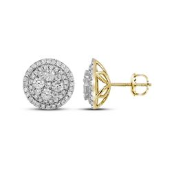 1.68 CTW Diamond Flower Cluster Earrings 14KT Yellow Gold - REF-179K9W