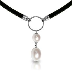 Genuine 6 ctw Pearl Necklace Jewelry 14KT White Gold - REF-47F8Z