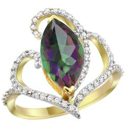 Natural 3.33 ctw Mystic-topaz & Diamond Engagement Ring 14K Yellow Gold - REF-77V5F
