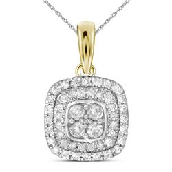 0.33 CTW Diamond Square Cluster Pendant 14KT Yellow Gold - REF-34K4W
