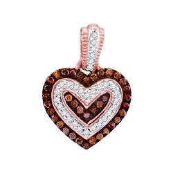 0.20 CTW Red Color Diamond Small Heart Pendant 10KT Rose Gold - REF-19W4K