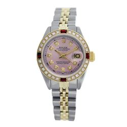 Rolex Pre-owned 26mm Womens Custom Pink with Tracker Two Tone - REF-530H2N
