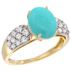 Natural 2.75 ctw turquoise & Diamond Engagement Ring 14K Yellow Gold - REF-65H2W