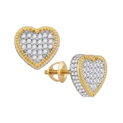 0.90 CTWDiamond Heart Rope Cluster Earrings 10KT Yellow Gold - REF-59H9M
