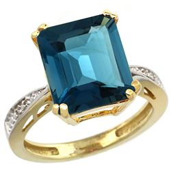 Natural 5.42 ctw London-blue-topaz & Diamond Engagement Ring 10K Yellow Gold - REF-59N2G