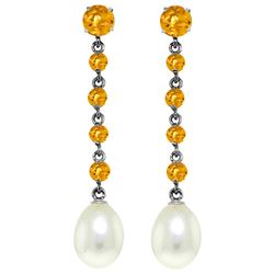 Genuine 10 ctw Citrine & Pearl Earrings Jewelry 14KT White Gold - REF-32P4H
