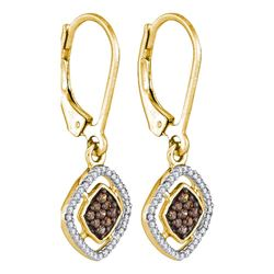 0.33 CTW Cognac-brown Color Diamond Diagonal Earrings 10KT Yellow Gold - REF-20Y9X