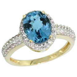 Natural 1.91 ctw London-blue-topaz & Diamond Engagement Ring 14K Yellow Gold - REF-41X7A