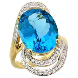 Natural 11.2 ctw swiss-blue-topaz & Diamond Engagement Ring 14K Yellow Gold - REF-95F8N