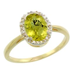Natural 1.22 ctw Lemon-quartz & Diamond Engagement Ring 10K Yellow Gold - REF-19N9G