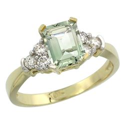 Natural 1.48 ctw green-amethyst & Diamond Engagement Ring 14K Yellow Gold - REF-52G3M