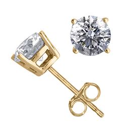14K Yellow Gold Jewelry 1.56 ctw Natural Diamond Stud Earrings - REF#394H9W-WJ13330