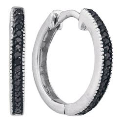 0.10 CTW Black Color Diamond Hoop Earrings 10KT White Gold - REF-12X2Y