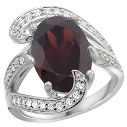 Natural 7.24 ctw garnet & Diamond Engagement Ring 14K White Gold - REF-144G3M