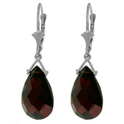 Genuine 10.20 ctw Garnet Earrings Jewelry 14KT White Gold - REF-39P2H