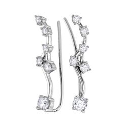 0.73 CTW Diamond Climber Earrings 10KT White Gold - REF-59H9M