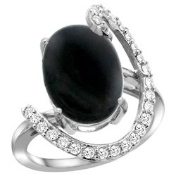 Natural 3.63 ctw Onyx & Diamond Engagement Ring 14K White Gold - REF-85K2R
