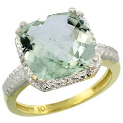 Natural 5.96 ctw Green-amethyst & Diamond Engagement Ring 14K Yellow Gold - REF-42X3A