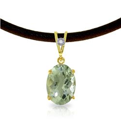 Genuine 7.56 ctw Green Amethyst & Diamond Necklace Jewelry 14KT Yellow Gold - REF-35X5M