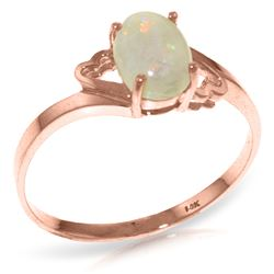 Genuine 0.45 ctw Opal Ring Jewelry 14KT Rose Gold - REF-21R9P