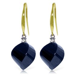 Genuine 30.6 ctw Sapphire & Diamond Earrings Jewelry 14KT Yellow Gold - REF-51X9M