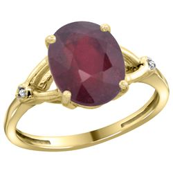 Natural 3.65 ctw Ruby & Diamond Engagement Ring 14K Yellow Gold - REF-38W9K