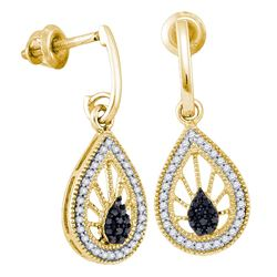0.35 CTW Black Color Diamond Teardrop Dangle Earrings 10KT Yellow Gold - REF-30W2K