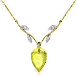 Genuine 9.02 ctw Lemon Quartz & Diamond Necklace Jewelry 14KT Yellow Gold - REF-33K2V