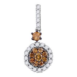 0.50 CTWCognac-brown Color Diamond Cluster Pendant 14KT White Gold - REF-30X2Y