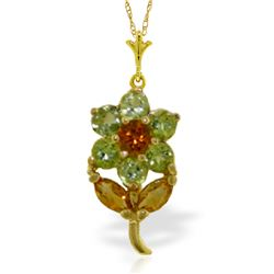 Genuine 1.06 ctw Citrine & Peridot Necklace Jewelry 14KT Yellow Gold - REF-25R3P
