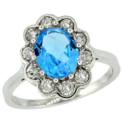 Natural 2.34 ctw Swiss-blue-topaz & Diamond Engagement Ring 14K White Gold - REF-81Y4X